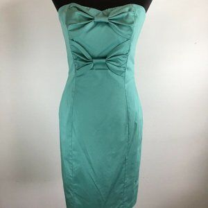 Betsey Johnson Bow Sheath Dress 8 M Teal Blue